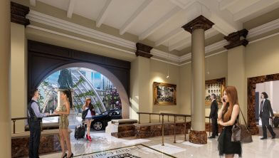 Inside the Treasury Hotel building